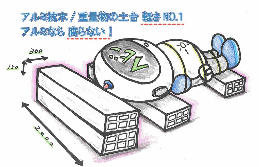 アルミ枕木/重量物の土台 軽さNo.1!アルミなら腐らない!